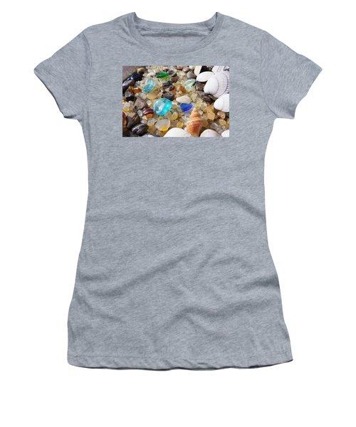 Blue Seaglass Art Prints Shells Agates Rocks Women's T-Shirt