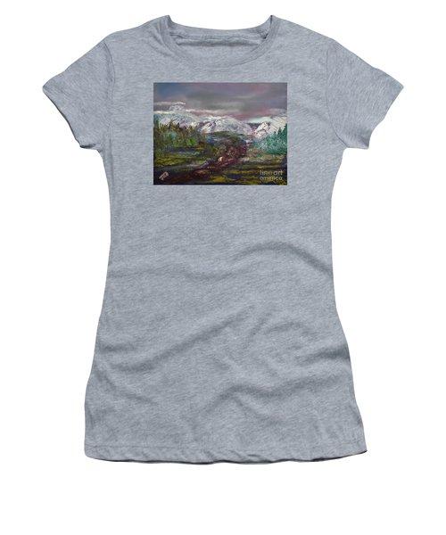 Blurred Mountain Women's T-Shirt (Junior Cut) by Jan Dappen