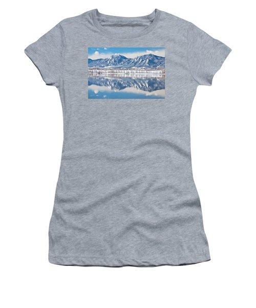 Boulder Reservoir Flatirons Reflections Boulder Colorado Women's T-Shirt