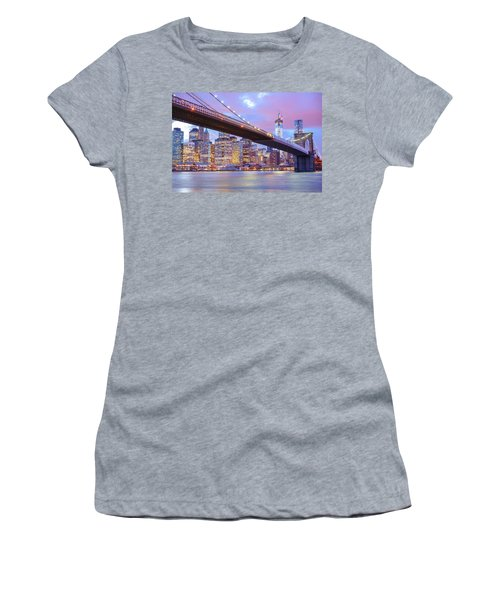 Brooklyn Bridge And New York City Skyscrapers Women's T-Shirt (Athletic Fit)
