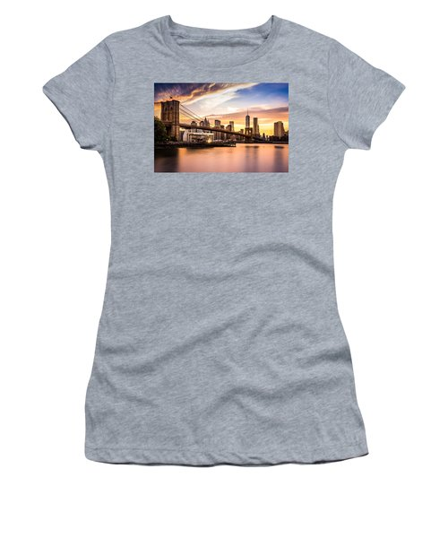Brooklyn Bridge At Sunset  Women's T-Shirt (Athletic Fit)