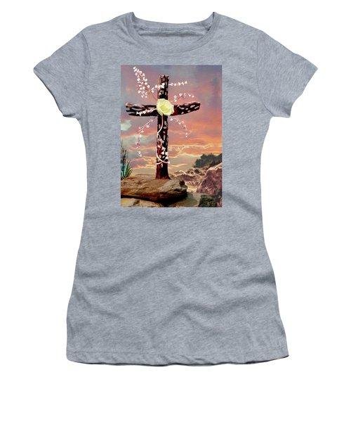 Calvary Cross Women's T-Shirt (Junior Cut) by Ron Chambers