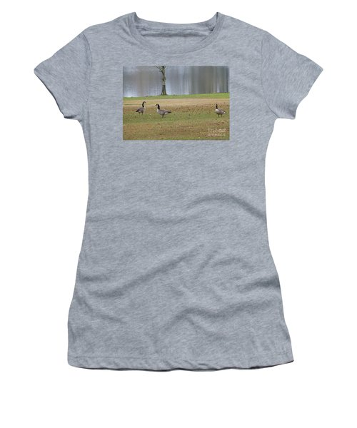 Canadian Geese Tourists Women's T-Shirt (Junior Cut) by Joseph Baril