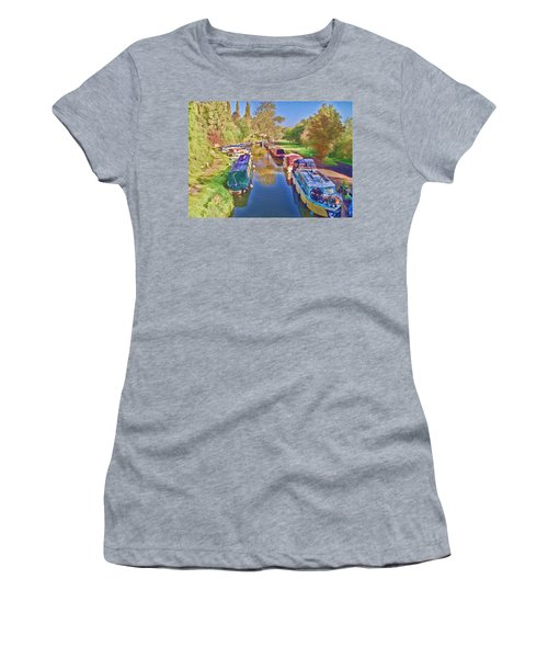 Women's T-Shirt featuring the photograph Canal Barges by Paul Gulliver