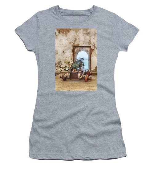 Women's T-Shirt featuring the photograph Cannon At Fort San Felipe Del Morro by Bryan Mullennix