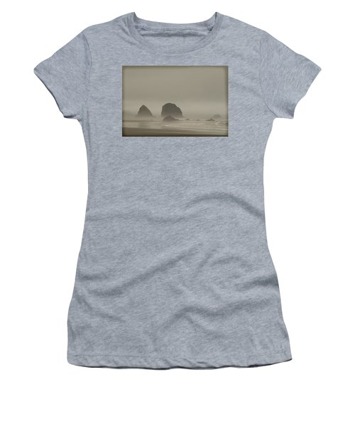 Cannon Beach In A Fog Oregon Women's T-Shirt