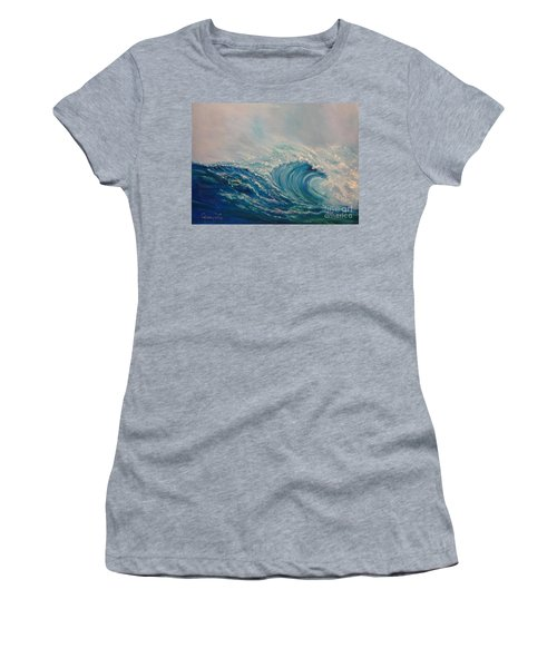 Women's T-Shirt (Junior Cut) featuring the painting Wave 111 by Jenny Lee