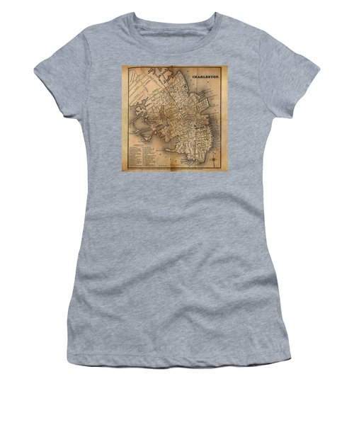 Women's T-Shirt (Junior Cut) featuring the painting Charleston Vintage Map No. I by James Christopher Hill