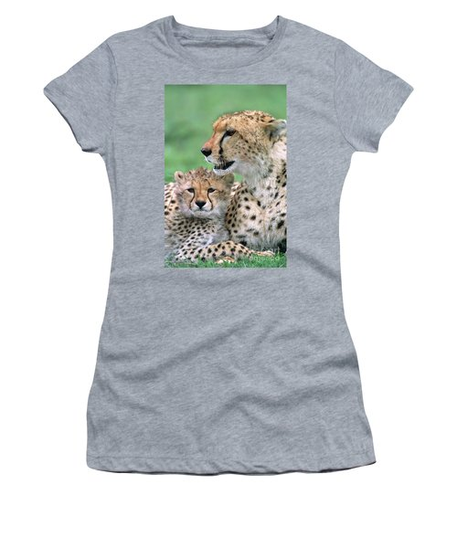 Women's T-Shirt featuring the photograph Cheetah Mother And Cub by Yva Momatiuk John Eastcott