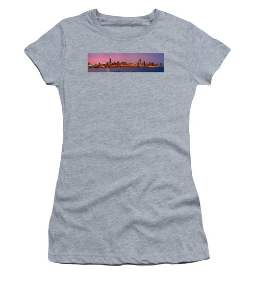 Chicago Skyline At Dusk 2008 Panorama Women's T-Shirt (Athletic Fit)