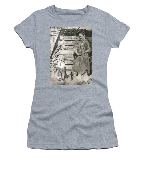Chicken Coop - Woman And Son - Feeding Chickens Women's T-Shirt