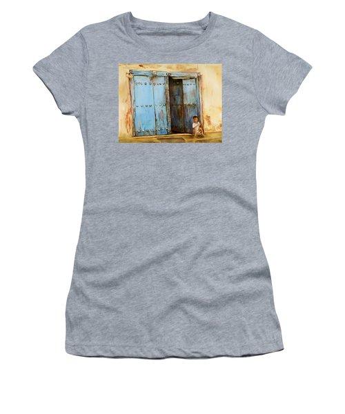 Child Sitting In Old Zanzibar Doorway Women's T-Shirt (Athletic Fit)