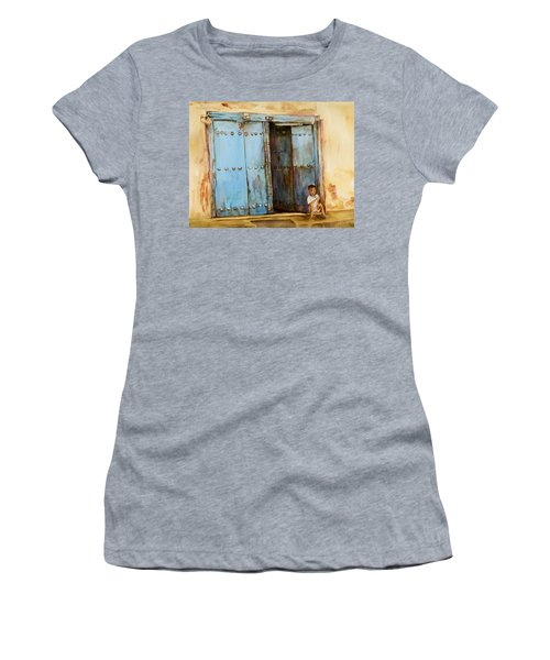 Child Sitting In Old Zanzibar Doorway Women's T-Shirt (Athletic Fit)