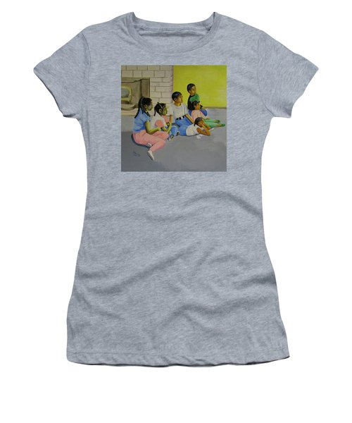 Women's T-Shirt (Junior Cut) featuring the painting Children's Attention Span  by Thomas J Herring