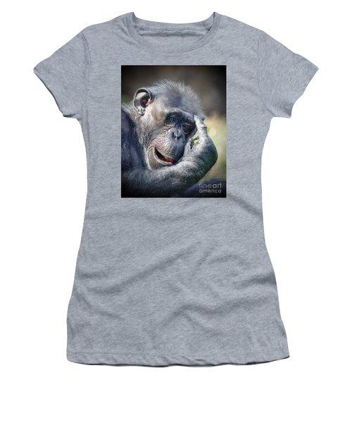 Women's T-Shirt (Junior Cut) featuring the photograph Chimpanzee Thinking by Savannah Gibbs