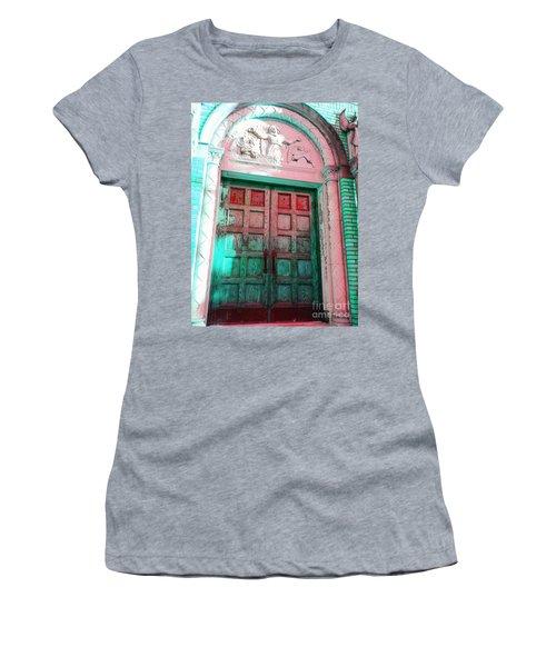 Women's T-Shirt (Junior Cut) featuring the photograph Church Door by Becky Lupe