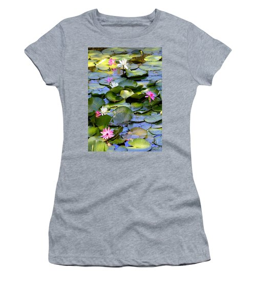 Colorful Water Lily Pond Women's T-Shirt (Athletic Fit)