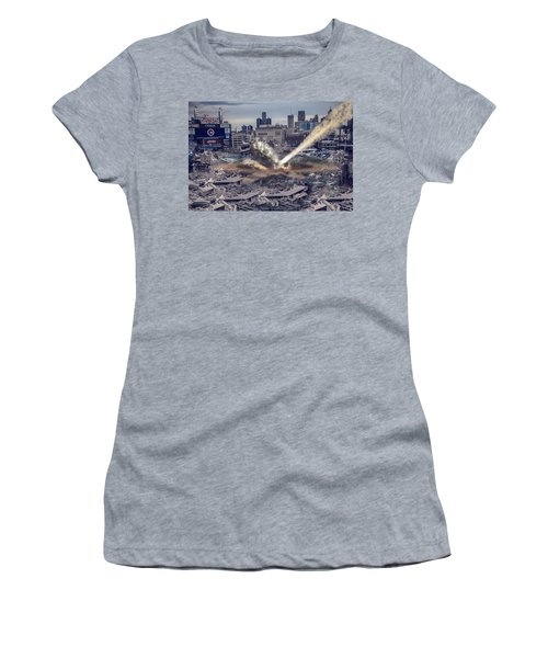 Women's T-Shirt (Junior Cut) featuring the photograph Comerica Park Asteroid by Nicholas  Grunas
