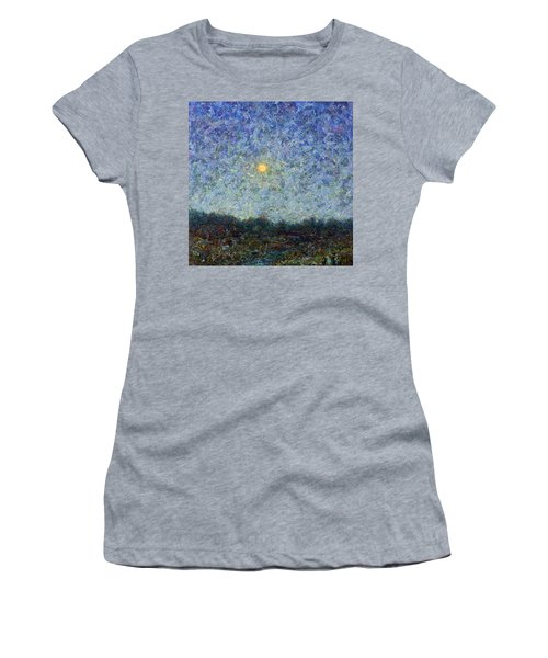 Women's T-Shirt (Junior Cut) featuring the painting Cornbread Moon - Square by James W Johnson
