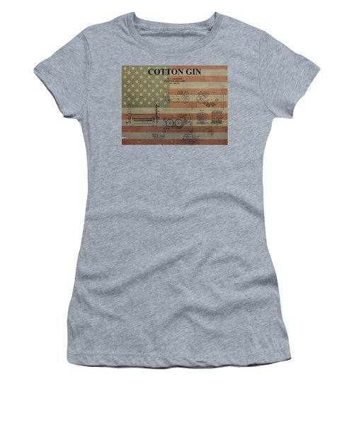 Cotton Gin Patent Aged American Flag Women's T-Shirt