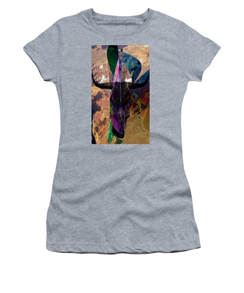 Women's T-Shirt (Junior Cut) featuring the digital art Cowskull Over The Canyon by Cathy Anderson