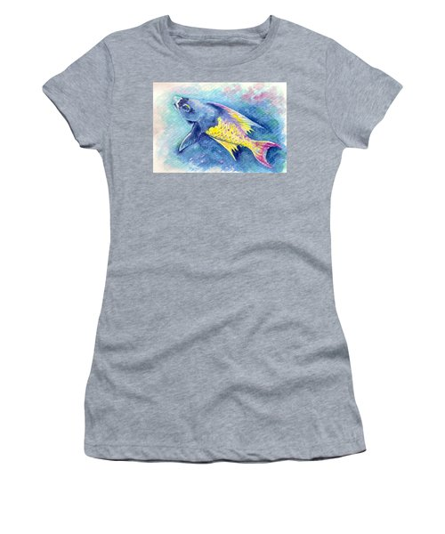 Women's T-Shirt featuring the painting Creole Wrasse by Ashley Kujan