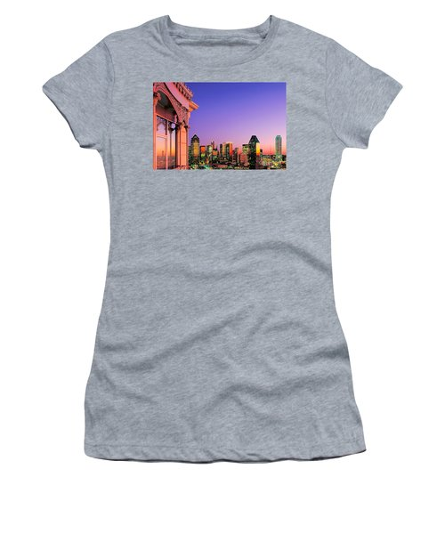 Dallas Skyline At Dusk Women's T-Shirt (Junior Cut) by David Perry Lawrence
