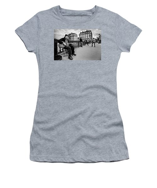 Women's T-Shirt featuring the photograph Dancing In The Streets Of Paris / Paris by Barry O Carroll