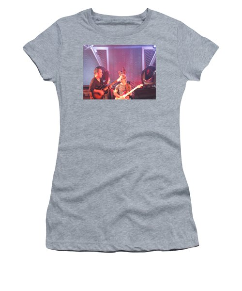 Women's T-Shirt (Junior Cut) featuring the photograph Dave And Tim Jam On The Guitar by Aaron Martens