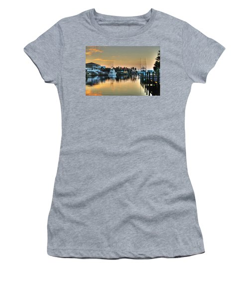 Women's T-Shirt (Junior Cut) featuring the photograph Dawn On A Orange Beach Canal by Michael Thomas