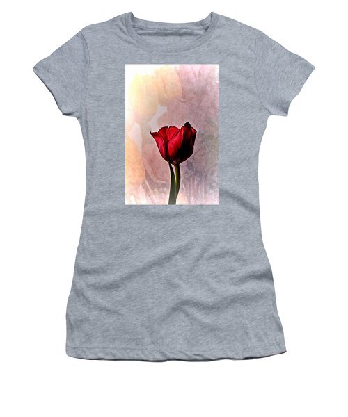 Deep Red Tulip On Pale Tulip Background Women's T-Shirt