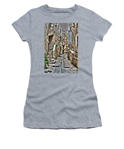 Women's T-Shirt (Junior Cut) featuring the photograph Downtown In Jerusalems Old City by Doc Braham