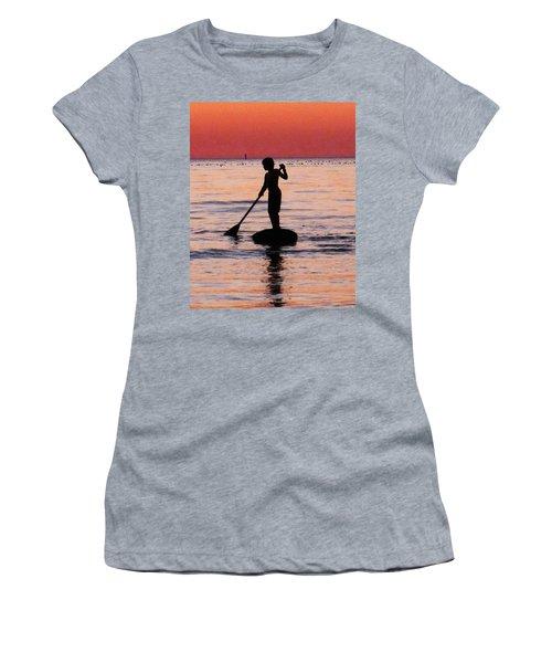 Dusk Float - Sunset Art Women's T-Shirt (Athletic Fit)