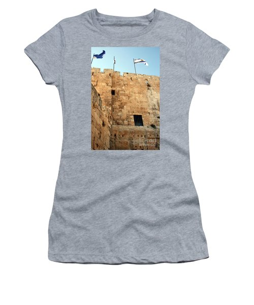 Women's T-Shirt (Junior Cut) featuring the photograph Early Morning At The Jaffa Gate by Doc Braham