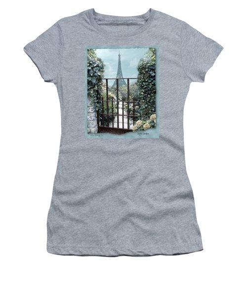 Eiffel Garden In Blue Women's T-Shirt
