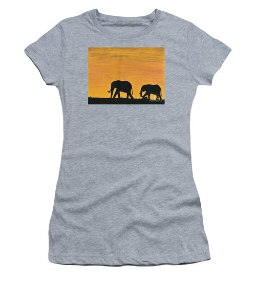 Elephants - At - Sunset Women's T-Shirt (Athletic Fit)
