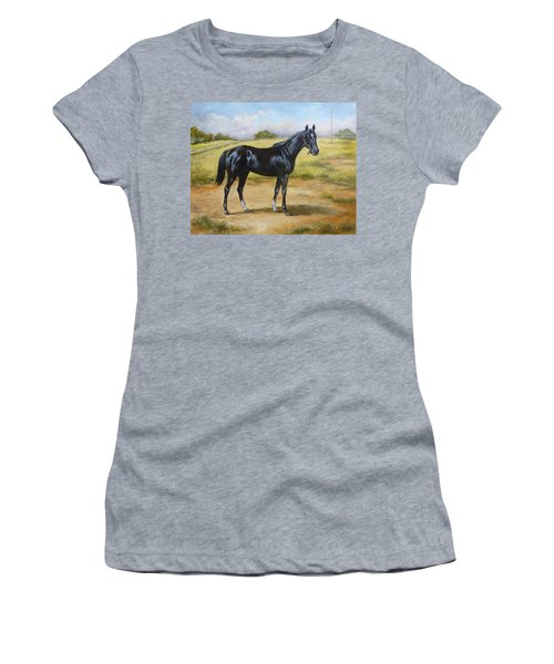 English Horse - Black Huzar Women's T-Shirt (Athletic Fit)
