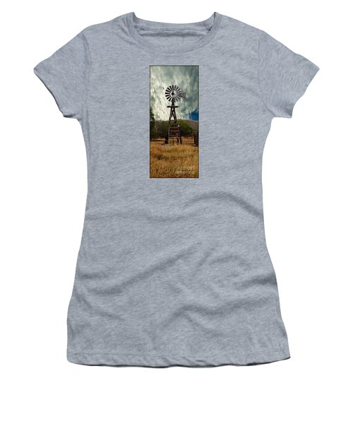 Face The Wind - Windmill Photography Art Women's T-Shirt (Athletic Fit)