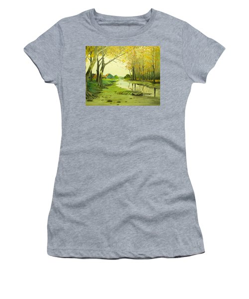 Fall By The Stream By Merlin Reynolds Women's T-Shirt