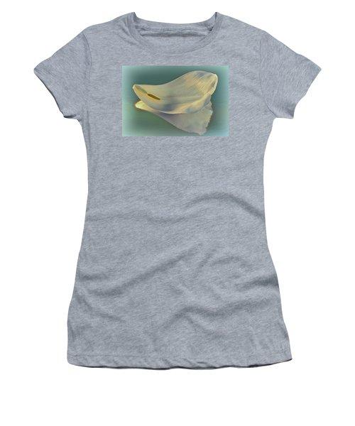 Fallen White Petal On Aqua Women's T-Shirt