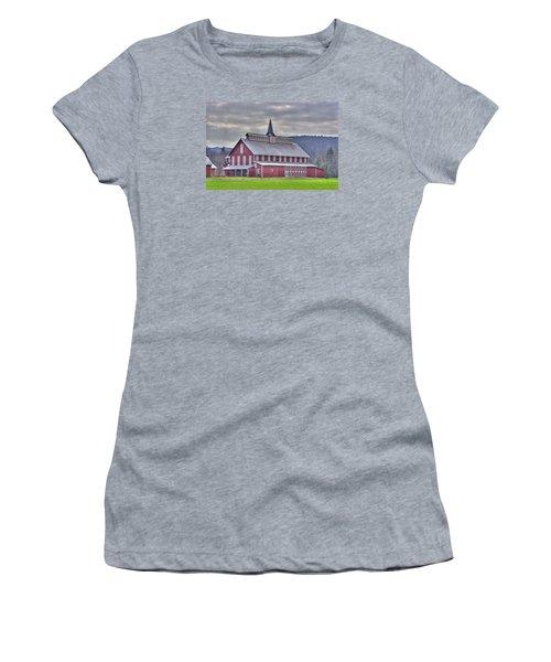 Fancy Red Barn Women's T-Shirt (Junior Cut) by Shelly Gunderson