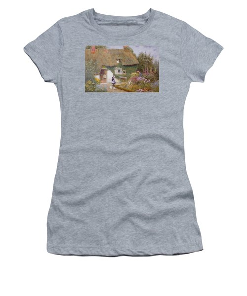 Feeding The Pigeons Women's T-Shirt (Junior Cut) by Arthur Claude Strachan
