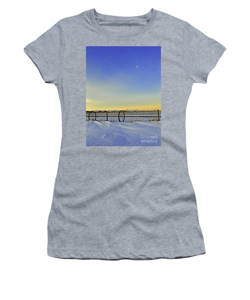 Fence And Moon Women's T-Shirt (Athletic Fit)