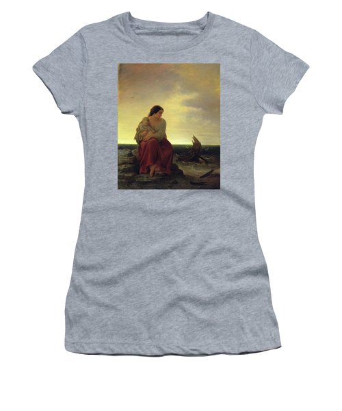 Fishermans Wife Mourning On The Beach Oil On Canvas Women's T-Shirt