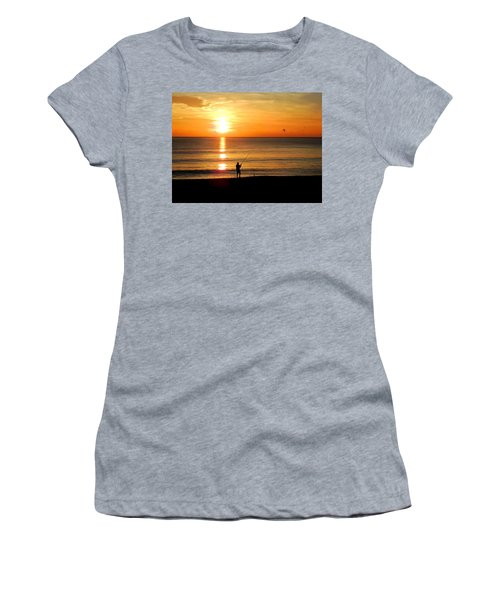 Fishing At Sunrise Women's T-Shirt (Athletic Fit)