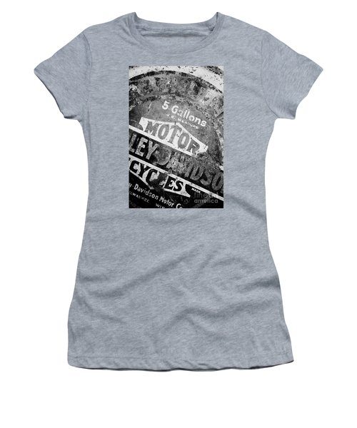 Women's T-Shirt (Junior Cut) featuring the photograph Five Gallon Motorcycle Oil Can by Wilma  Birdwell