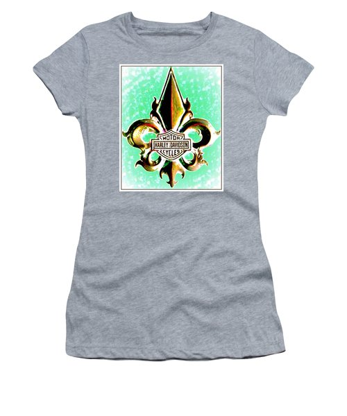 Fleurs De Lys And Harley Davidson Logo Bronze Green Women's T-Shirt