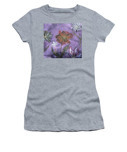 Flowers On Silk Women's T-Shirt (Athletic Fit)