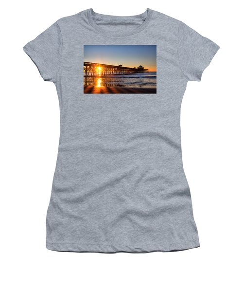 Folly Beach Pier At Sunrise Women's T-Shirt (Junior Cut) by Lynne Jenkins