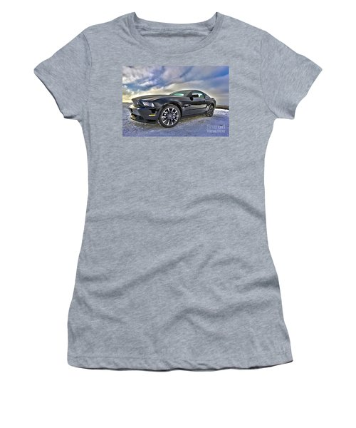 Women's T-Shirt (Junior Cut) featuring the photograph ford mustang car HDR by Paul Fearn